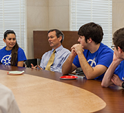Dean Brent Iverson with students