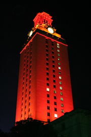 UT Tower Glows Orange