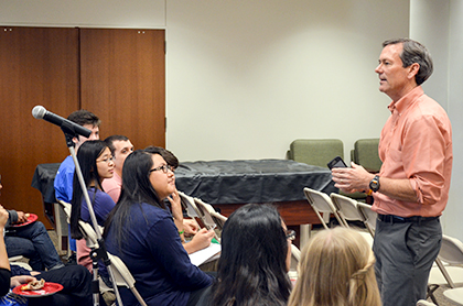 Dean Brent Iverson speaks to students