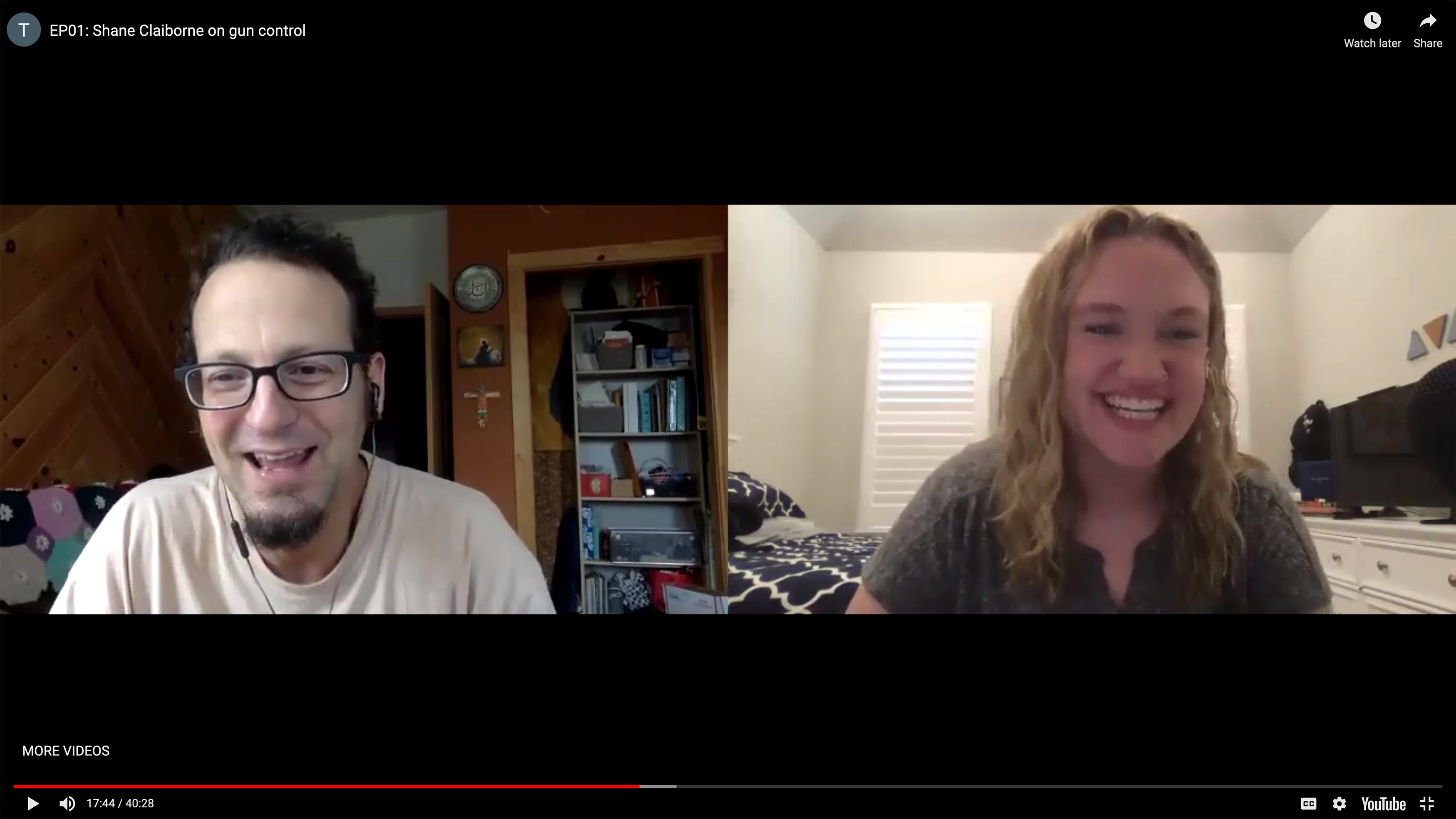 Sydney Gray and her podcast guest Shane Claiborne