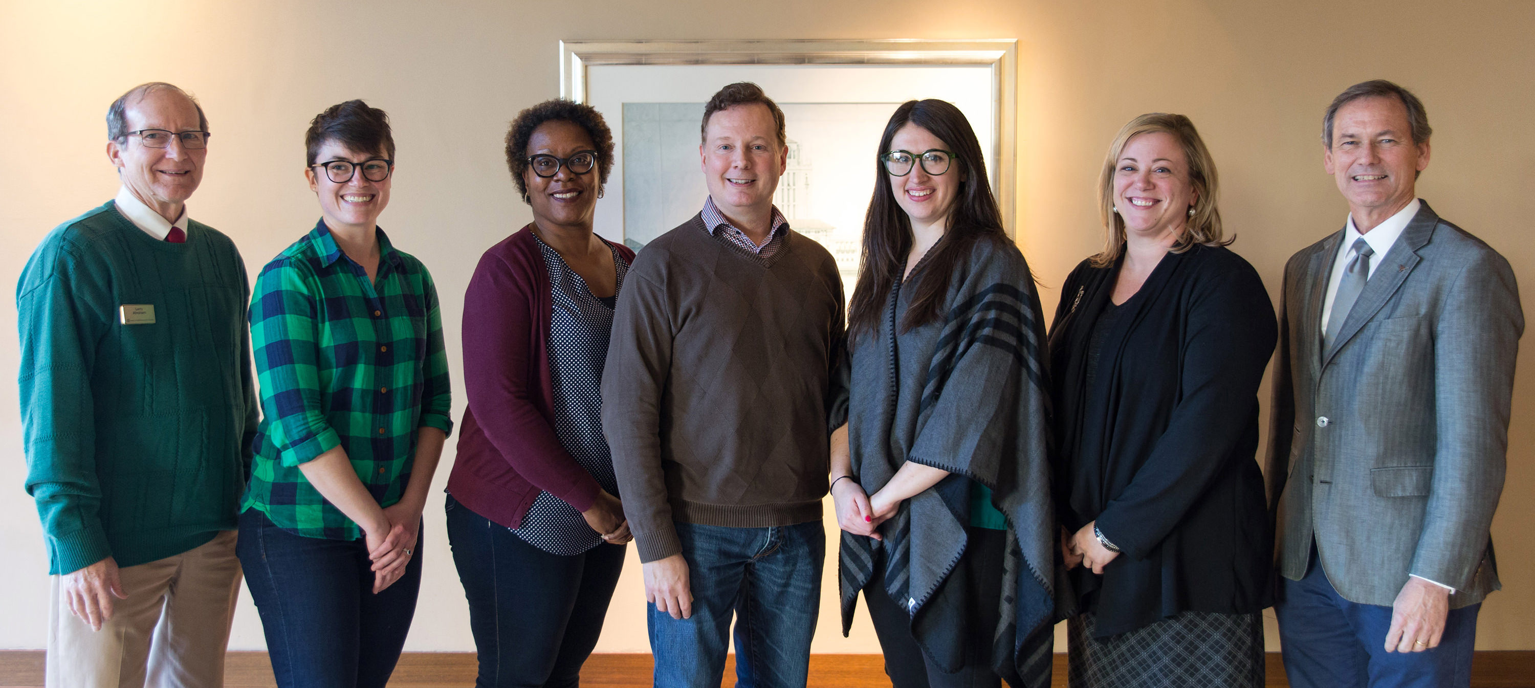 Associate Dean Larry Abraham, Kelly Frazer, Tamela Walker, Alan Grimes, Anne Bradley, Patty Micks, and Dean Brent Iverson. Laura Costello not pictured.