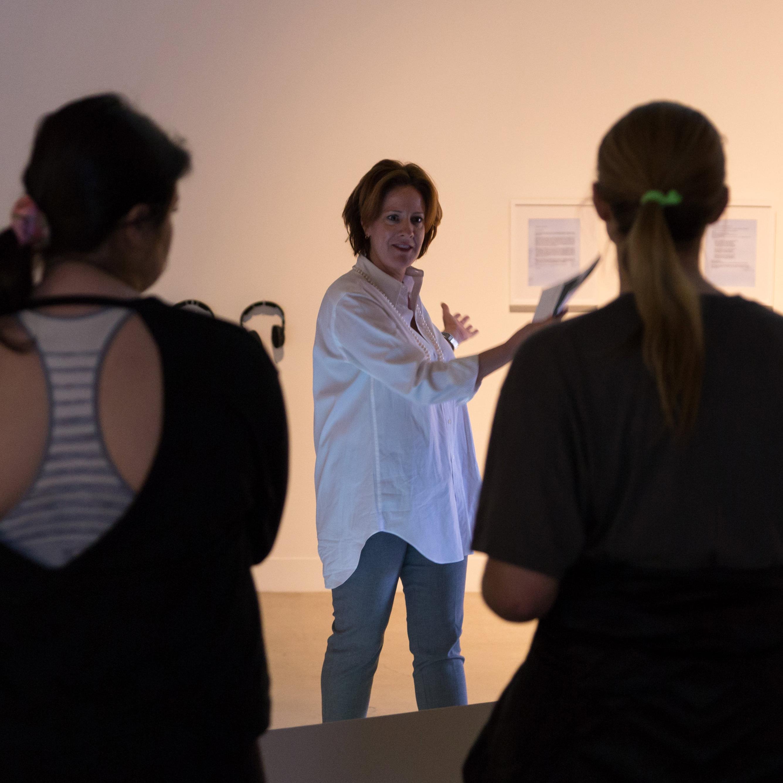 Shannon Cavanagh teaching a class in the visual arts center
