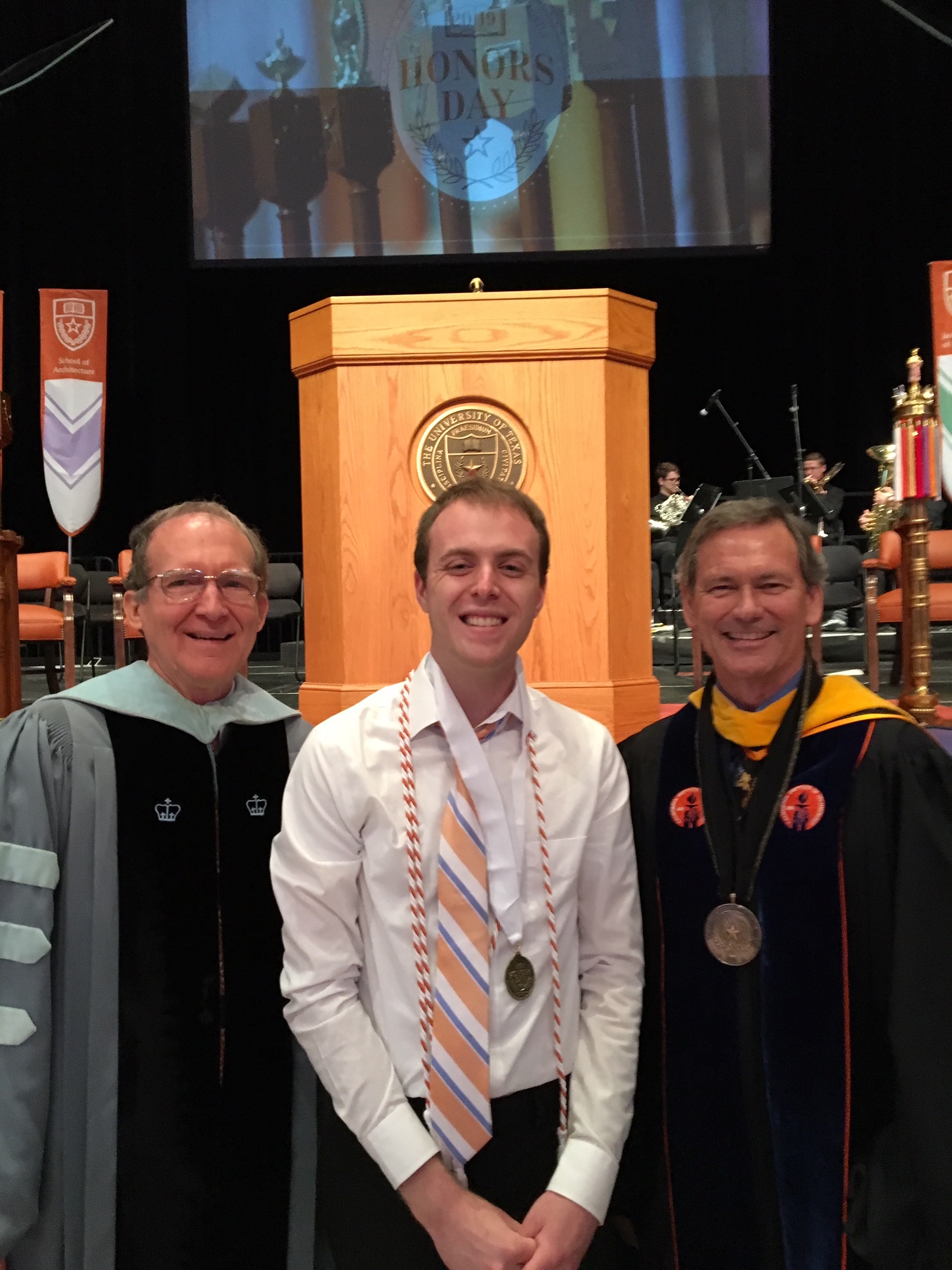 Nathan Blank with Dean Brent Iverson and Associate Dean Larry Abraham