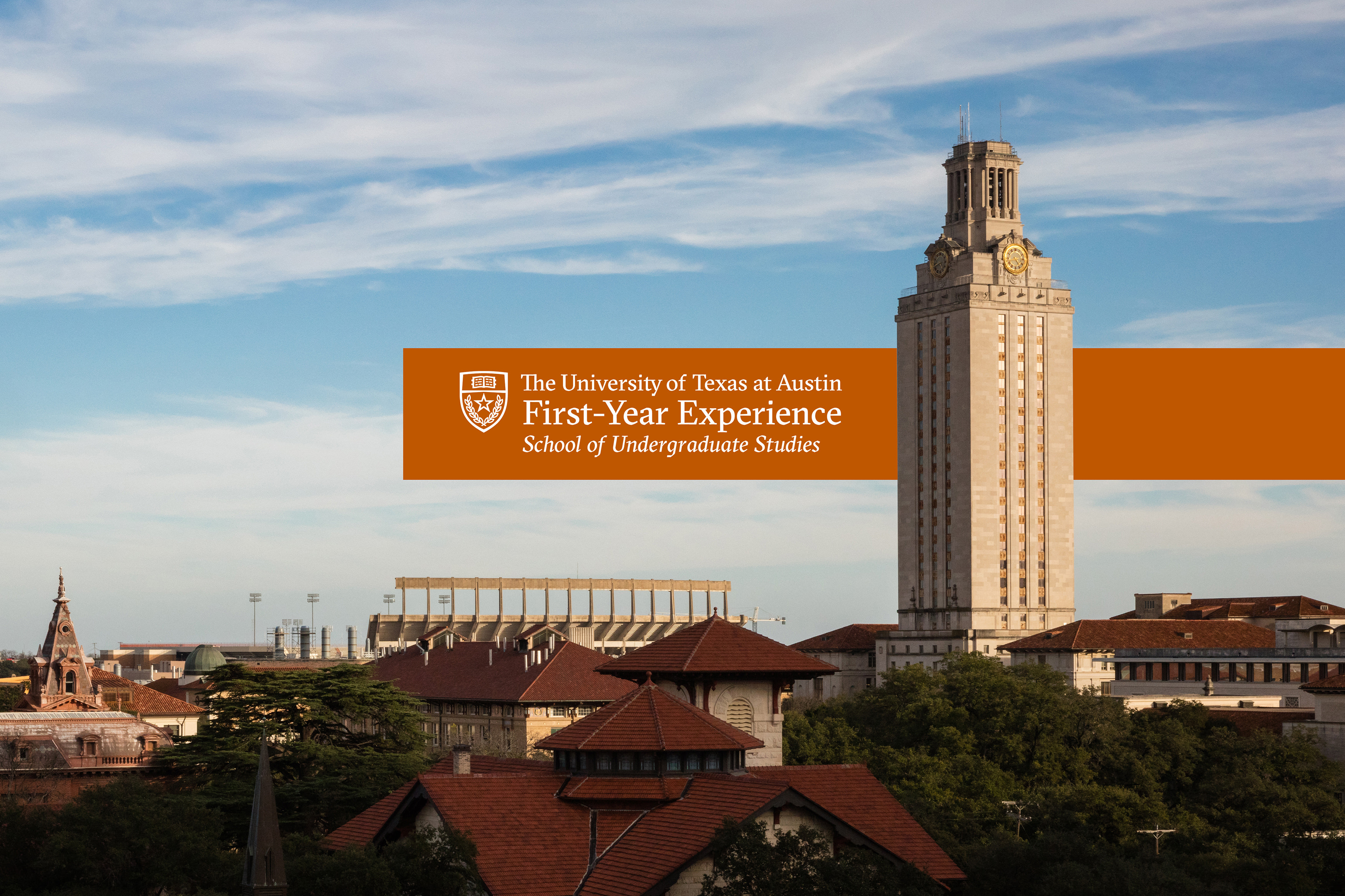 First-Year Experience Logo with a view of campus