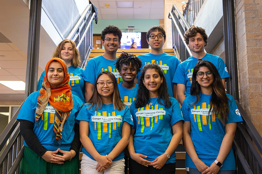 An image of students wearing Sanger Learning Center shirts