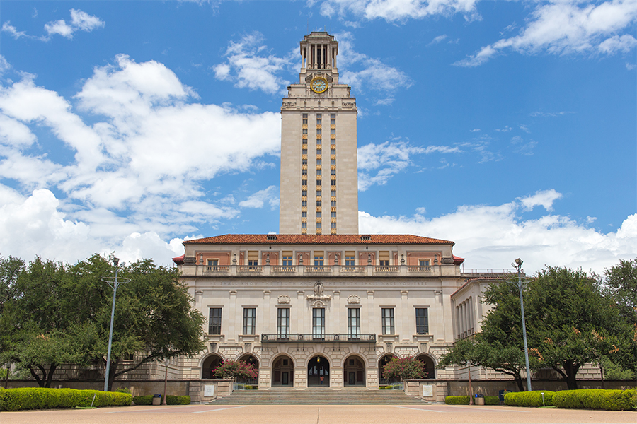 The University of Texas at Austin tower and main building