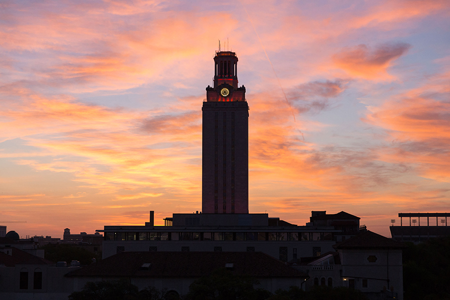 A view of the UT Tower during sunset