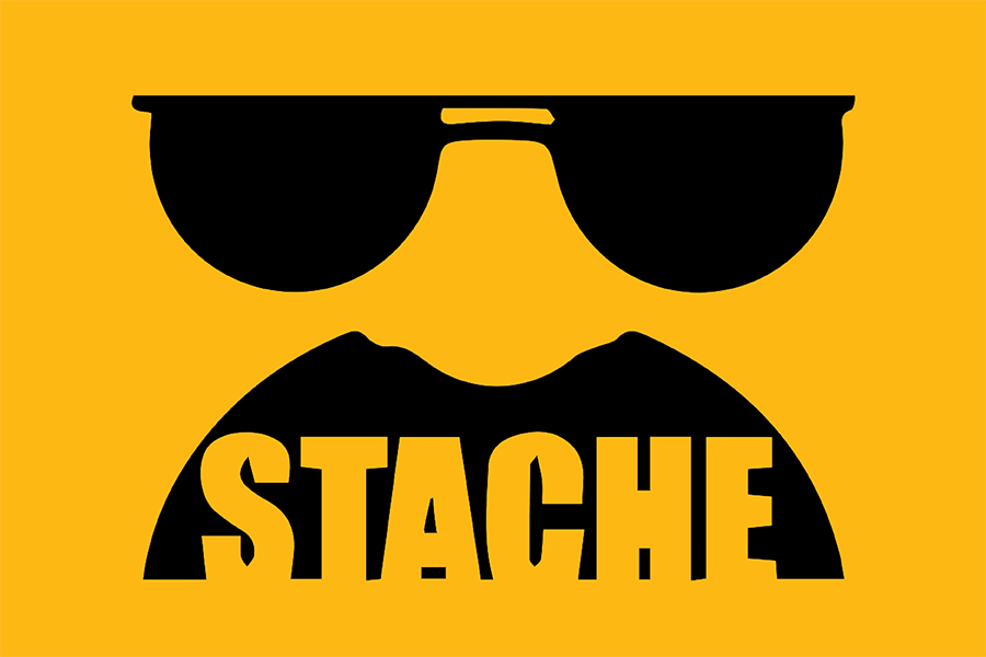 Sunglasses and mustache stache logo icon
