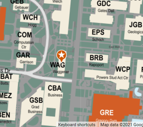 Waggener Hall on a campus map