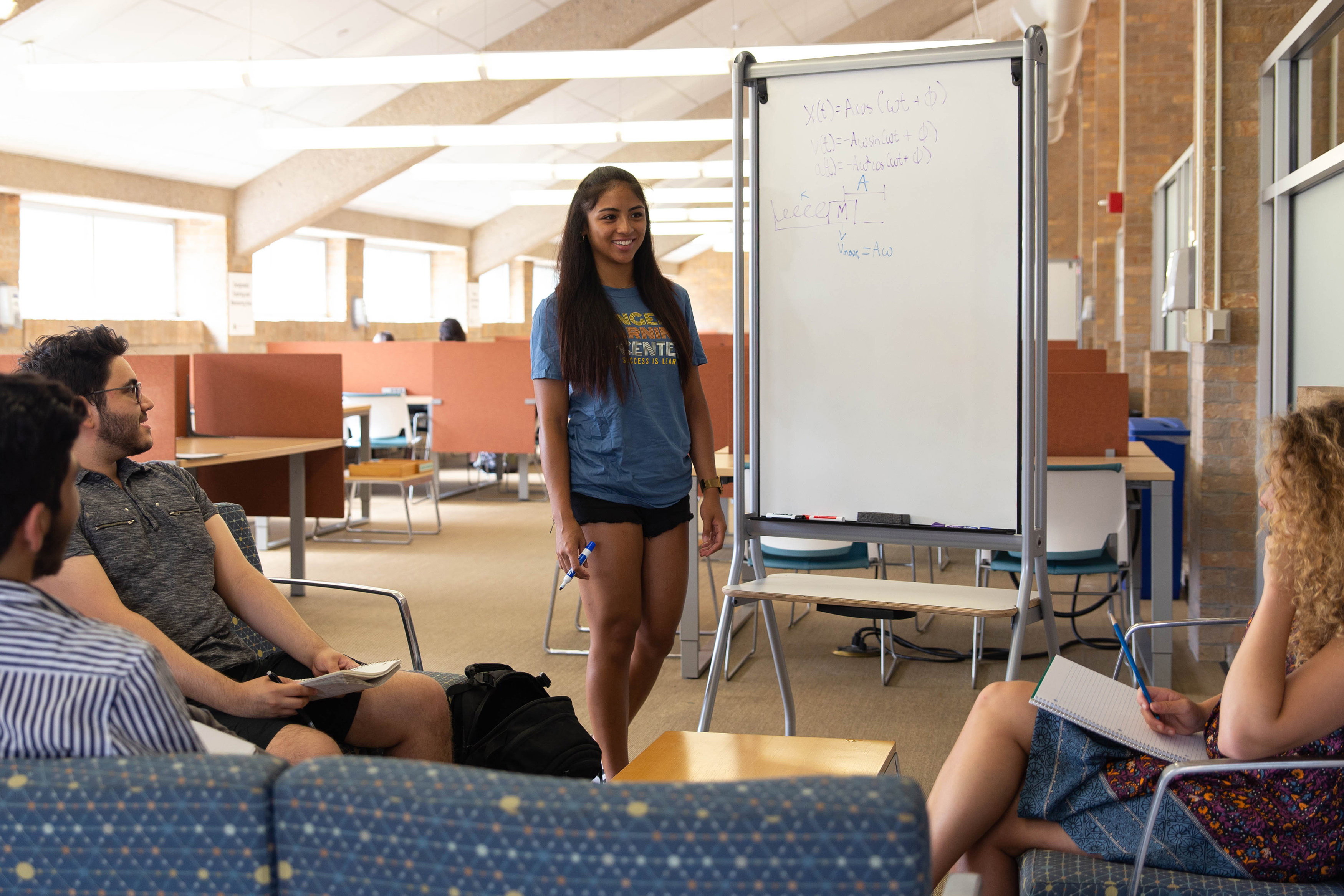 student participate in group tutoring at the Sanger Learning Center