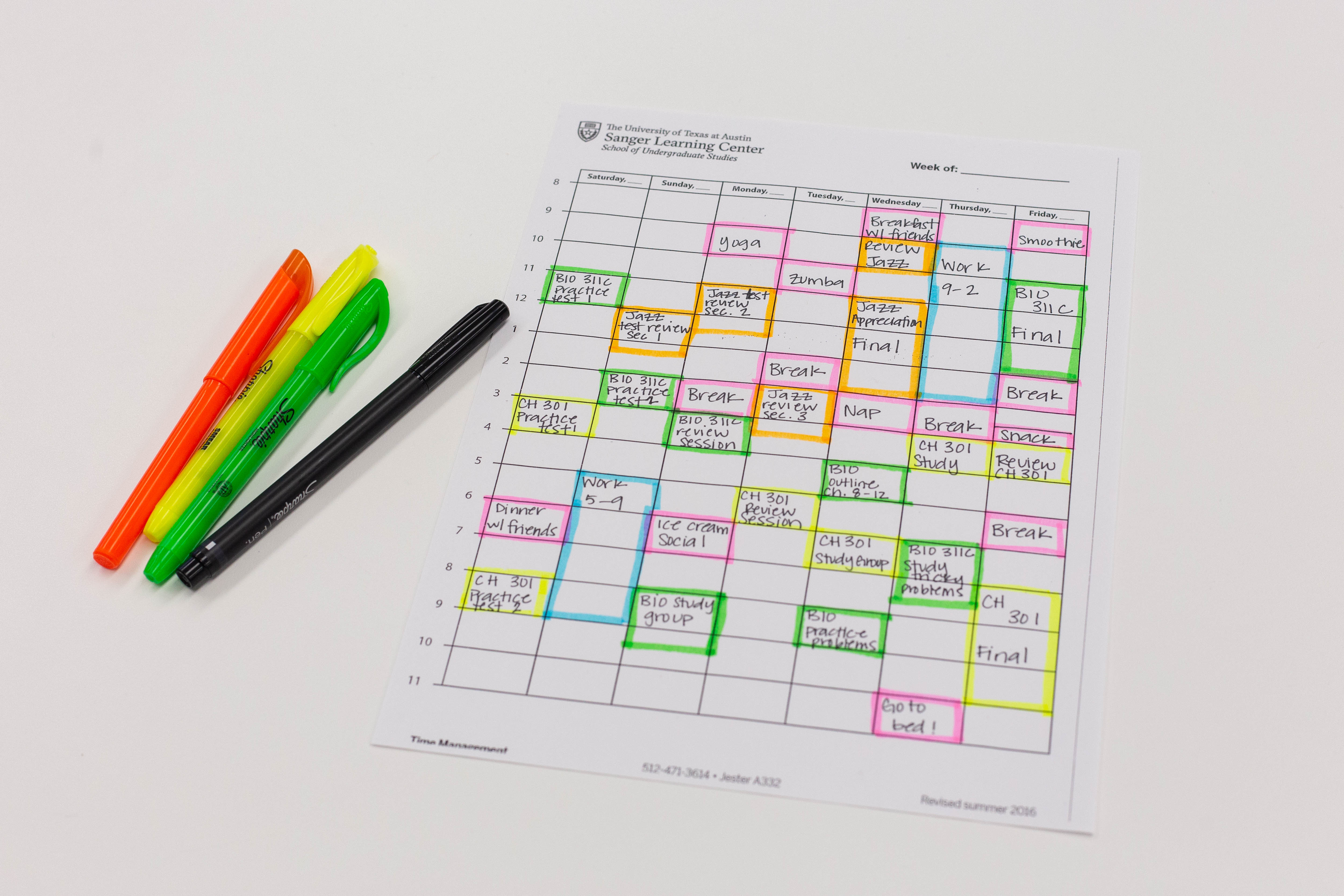 A student's planner and materials