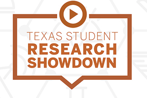 Text saying Texas Student Research Showdown surrounded by a think orange border in the shape of a square word bubble and the symbol for play above it